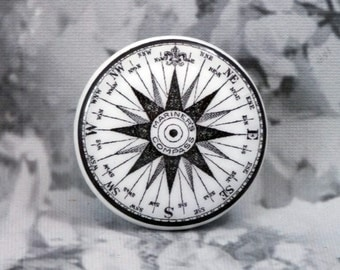 2 Inch Mariner Compass Dresser Knobs - Black & White Mariner's Compass