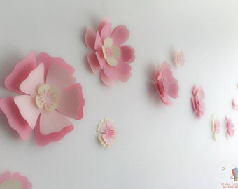 Paper Flowers, 3d Wall Decals, Paper flower Decals, Wall decals, Nursery Decor, Girls Room Decor, pretty pink flowers, paper wall flowers
