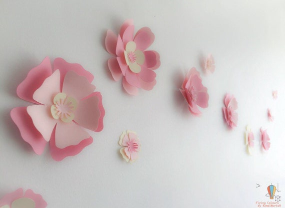 Paper flowers wall decor wall decals nursery Paper Flowers