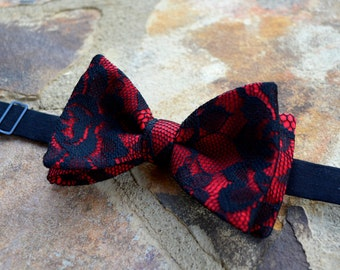 free swatchesMens Bow Tie , Formal bow tie, prom bow tie,red and black lace bow ties for men