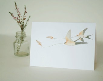 Greeting card | Australian welcome swallows watercolour | blank inside | celebration card
