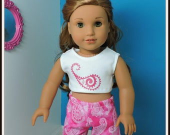 Pink Paisley short set fits American Girl Doll 18 inch Dolls -  American Made, Doll Shirt, Doll Shorts, Doll Clothes, AG