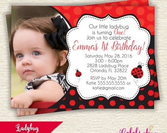 Little Ladybug Birthday Party Invitation Printable Design - by Celebration Lane