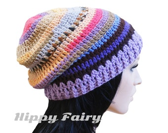 Winter colors beanie hat in Beige , Lilac , Grays browns and Reds