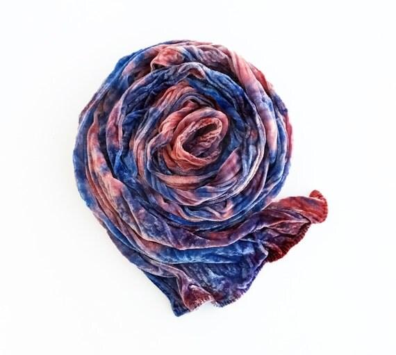 """Pink velvet scarf, luxe fashion, velvet, velvet scarf, Rose Quartz and Serenity, pink, blue, lavender, hand dyed, 13"""" x 59"""", luxe, velvet"""