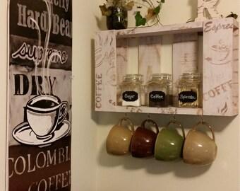 Sturdy Pine Coffee Mug Rack- Hand Painted
