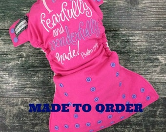 One size pocket / Christian embroidery / I Am Fearfully and Wonderfully Made cloth diaper / Made to Order / Little Beasties / leg gussets