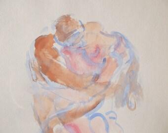 The Kiss- ORIGINAL WATERCOLOR PAINTING- Vintage- Erotic Art