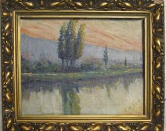 ANTIQUE OIL PAINTING-Landscape Impressionist