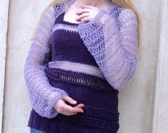 Hand Knitted Top and Bolero.Women top and Shrug. Lavender Bolero. Purple top.