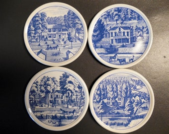 Set of (4) Vintage Ceramic Coasters by Hallmark- Made in Indonesia- 4 different scenes-