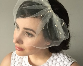 MARIE SMALL w/ Pearl Cluster Top - birdcage veil, birdcage, blusher veil, small blusher, tulle bridal birdcage veil, small birdcage