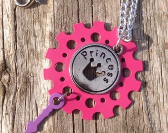 Colorful Steampunk Princess Necklace OOAK - Steampunk cosplay - cosplay necklace - steampunk gear necklace - gear jewelry - bts -holiday