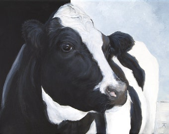 "Black and White Cow, ""Don't Let Me Down"", giclée print from original painting"