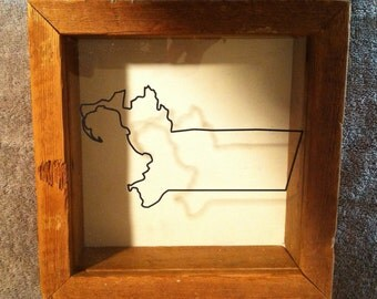 State Outline Rustic Wood Shadowbox