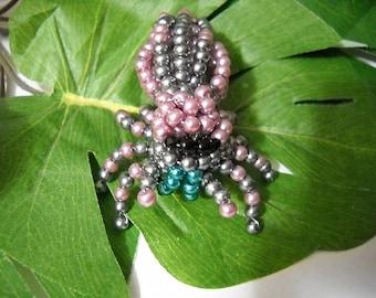 Handmade Glass Beaded Phidippus Pearly Lavender Jumping Spider Figurine