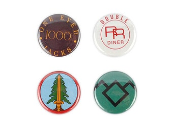 Twin Peaks inspired button Set! pin back, quotes, agent dale cooper, bookhouse boys, double rr diner, one eyed jacks, david lynch