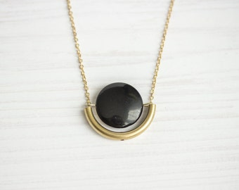 Agate & Brass Tube Dangle Semi Circle Necklace