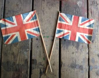 vintage canvas British flag / parade flags / Union Jack flag / hand flags