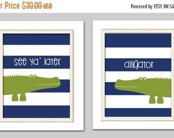 Alligator Nursery, Alligator Nursery Decor, Alligator Nursery Art, See ya later alligator, Madras Nursery, Set of 2, 8X10
