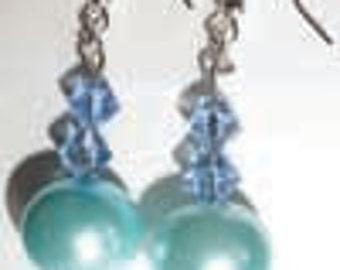 Light Blue Bead Earrings