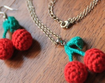 Chain with crochet cherries and matching earrings