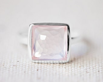 Rose Quartz Ring - Square Ring - Faceted Gemstone Ring - Stackable Ring