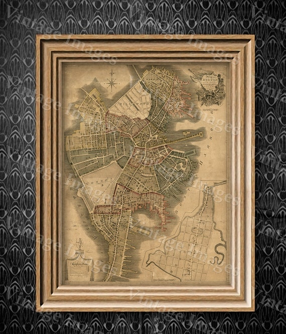 Boston Map Art Print Historic Boston City Map Antique Map of Boston Restoration Hardware Style Giant Boston wall Map house warming gift idea