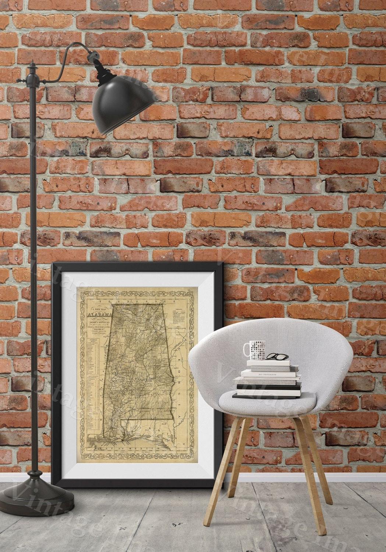 Wall Art Home Hardware : Alabama map antique of restoration