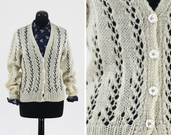 Cream Lace Knit Vintage Cardigan with Flower Buttons