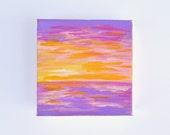 "Beach Sunset Painting, Ocean Painting, Beach Art, Hawaiian Art, Tropical Wall Art, Purple Seascape,  Original Mini 3""x3"" Acrylic Painting"