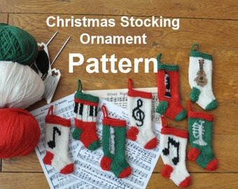 Musical Christmas Stocking Ornaments Knitting Pattern
