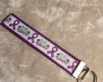 Epilepsy Awareness Wristlet Keychain