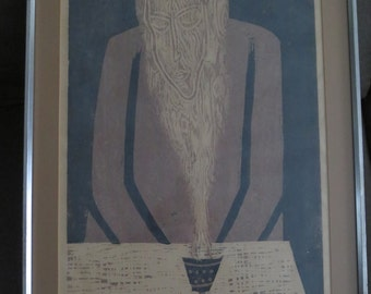 Vintage 1971 Canadian Artist Stanley Lewis Original Stone-cut on rice paper,Signed , Titled Incense , Numbered 28/45