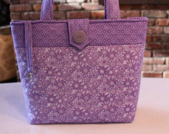 Light Purple Quilted Tote Bag