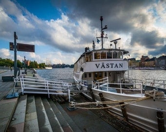 The MS Västan, docked in Norrmalm, Stockholm, Sweden. | Photo Print, Stretched Canvas, or Metal Print.