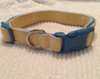 "Sz Large - 1"" Width, 14-24"" Adjustable Dog Collar - Anchors Away"