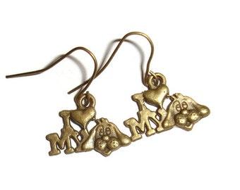 I love my dog dangle earrings bronze simple i love my dog earrings 2 inch animal lover earrings Dog lover earrings bronzy dog lover Pet