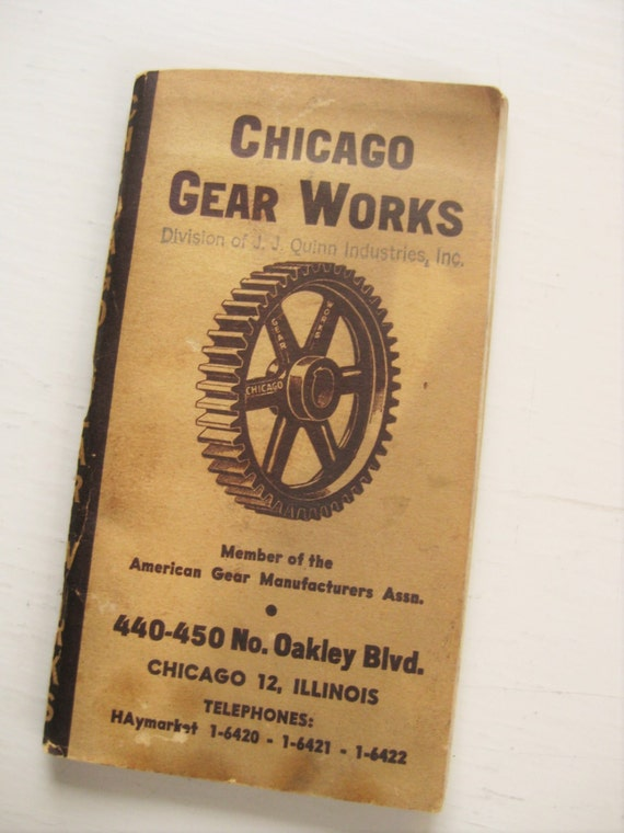 1950 Chicago Gear Works pocket catalog. American gear. Sprockets. Chicago history. Industrial collectibles. Maufacturing.