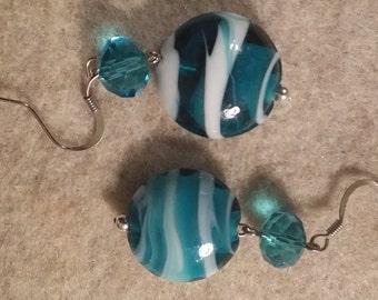 Aqua and White Beaded Earrings No. 805