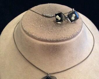Vintage Lucite Camo Necklace & Earring Set
