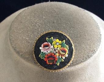 Vintage Signed Italy Italian Mosaic Pin