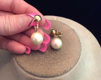 Vintage Off White Faux Pearl Dangling Clip On Earrings