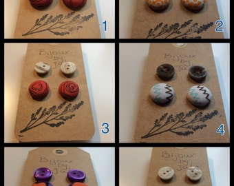 Button earrings - various - 2 pairs each