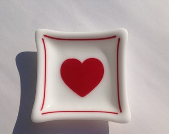 White Glass Dish With Red Heart