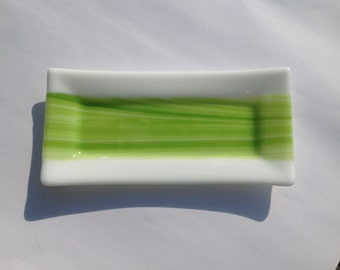 White And Green Streaky Fused Glass Dish Platter