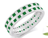 Custom made order Double Row Princess Cut Diamond and Emerald Band in 14K White Gold