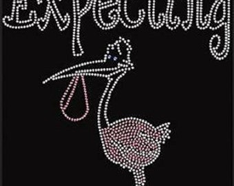 Baby Expecting Stork Rhinestone Iron on Transfer HQVF