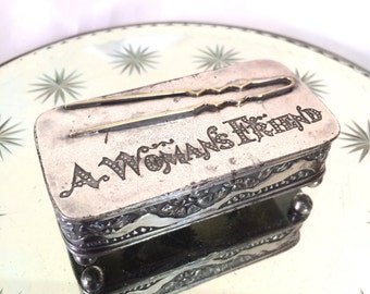 Victorian Hair Pin Holder Dresser Box Quadruple Plate