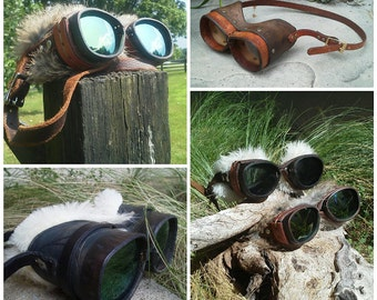 Prescription Leather Goggles with Tint-able UV Lenses